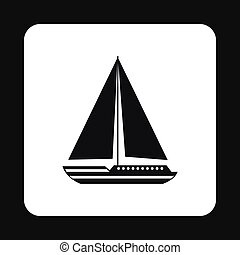 Boat with sails icon, simple style