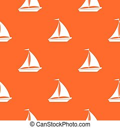 Boat with sails pattern seamless