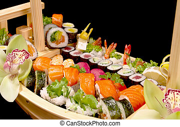 boat with sushi