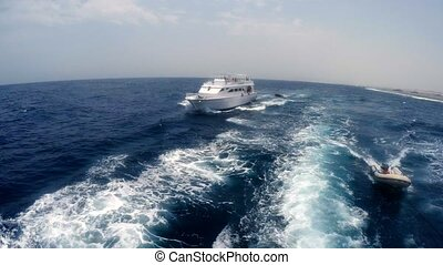 Boat with the tourists sailed in red sea, Egypt