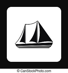 Boat with three sails icon, simple style