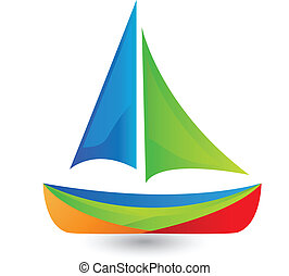 Boat with vivid colors logo - Boat with vivid colors vector...