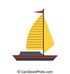 Boat with yellow sail icon, flat style