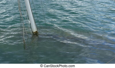 Boat Wreck under Water - Boat and mast of a wreck underwater...