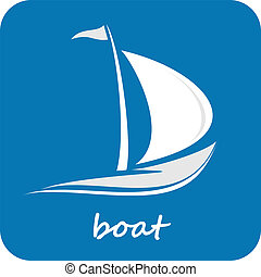 Sailing boat. White sailboat on the blue water. Yacht that sails on the waves. Stylized vector image of the floating boats with blue sails. Can be used as logotype of yacht club, marine club, hotel, etc.