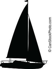 boat1, ベクトル, シルエット