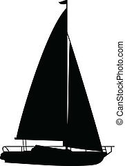 boat1, vektor, silhouetten