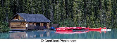 Boathouse and canoes, Banff National Park
