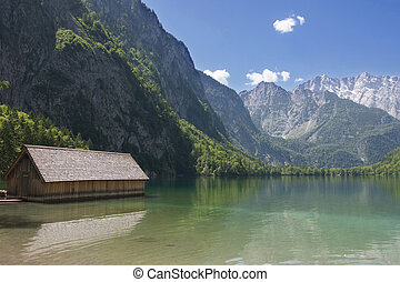 Boathouse at Obersee, Bavaria, Germany