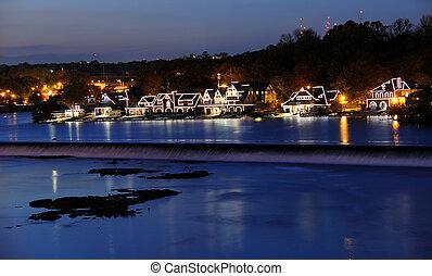 boathouse, crepuscolo, filadelfia, fila