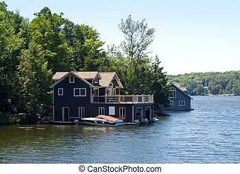 Boathouse with a boat