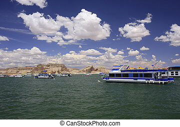Boathouses on Lake Powell, Arizona