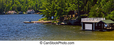 Boathouses on lake