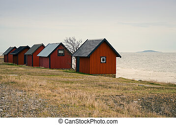 Boathouses - Red boathouses on the northern part of the...