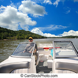 Boating Along The Ohio River In Kentucky USA In Summer