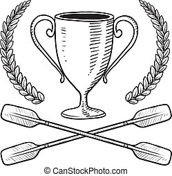 Boating award sketch - Doodle style canoeing or boating...
