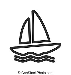 Boating - Boat, water, yacht, boating icon vector image. Can...