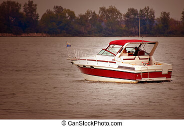 Boating Detroit River - Motor boat on down river from ...