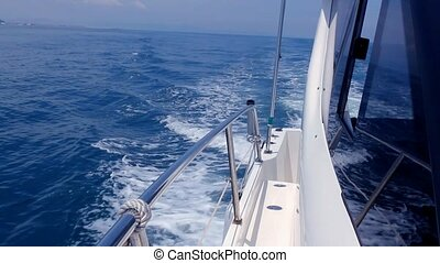 Boating in blue mediterranean sea