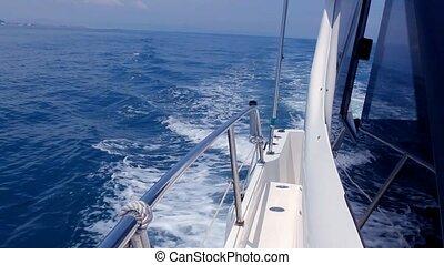 Boating in blue mediterranean sea