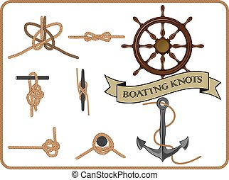 Sea Boat Knots Vector Set Illustration On White Stock ...