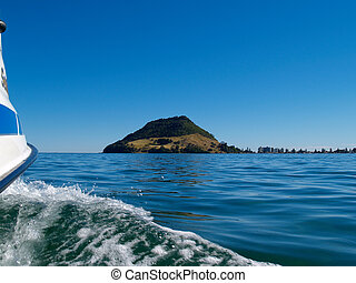 Boating on a calm Tauranga harbour.