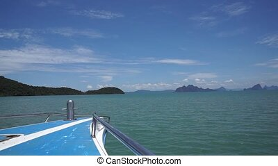 Boating on the Andaman Sea to the islands in Thailand