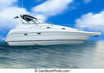 Boating on the water with blue skies