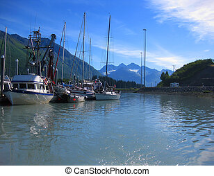 Boating out of the Harbor in Alaska - Beautiful mountains ...