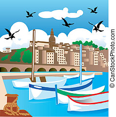 Vector illustration scene at a pier with ships, buildings and background.