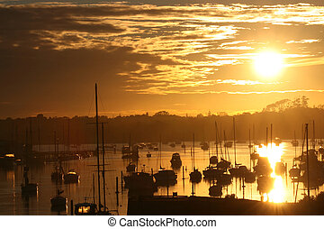 boats, на, , waterat, восход