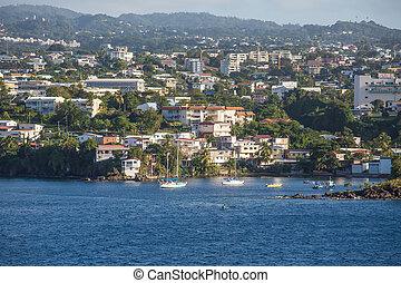 Boats Anchored off Coast of Martinique - Homes on coast of ...