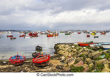 Boats anchored on the sea