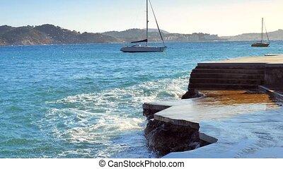 Boats and blue sea, Calvia bay with private sailboats ...