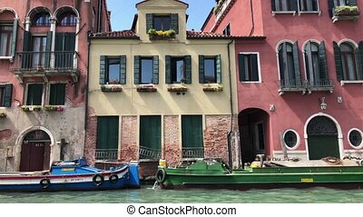 Boats and Building on Water Canal in Venice