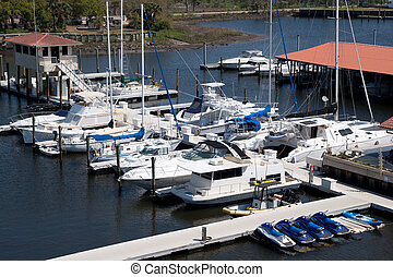Boats and Jet Skis in a Marina