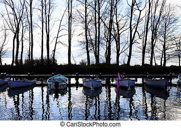 Boats and marina on Annecy lake, France