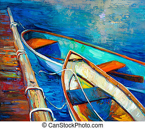 Boats and pier - Original oil painting of boat and jetty(...