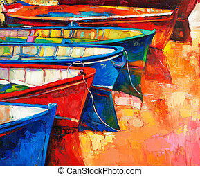 Boats and pier - Original oil painting of boats and jetty(...