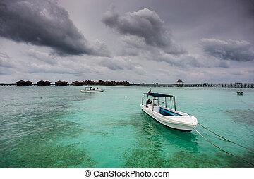 Boats and Resort at Mabul Island