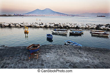 boats and Vesuvius - view of the bay of Naples, Italy