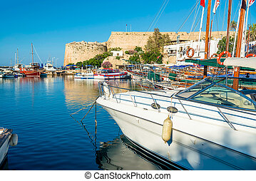 Boats and yachts in a port of Kyrenia (Girne), Cyprus