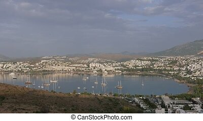 Boats and yachts moored in a bay, 4k, background.