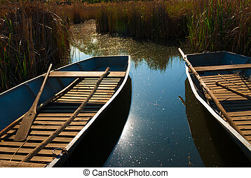 Boats are aligned on the shores of a lake