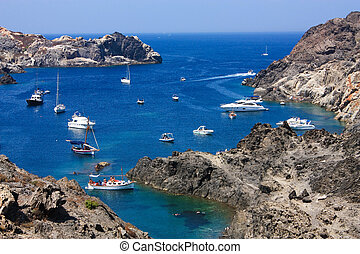 The Cap de Creus, a natural park, is ideal for excursions on foot or by boat. Situated in the northern Costa Brava, Girona province, Catalonia, Spain.