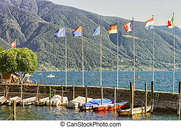 Boats at embankment in Ascona in Ticino in Switzerland -...