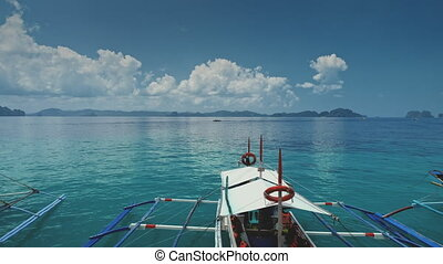 Boats at ocean bay with azure water surface. Serene seascape...