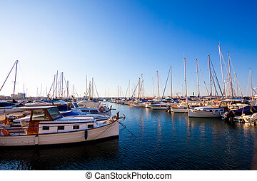 Boats at rest in the marina