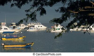 Boats at sea shore port on summer vacation day
