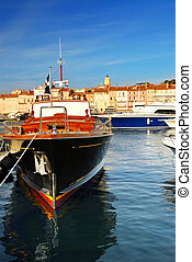 Boats at St.Tropez - Luxury boats docked in St. Tropez in...